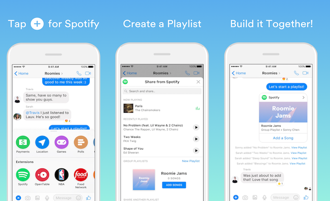 Spotify introduces new playlists for Messenger