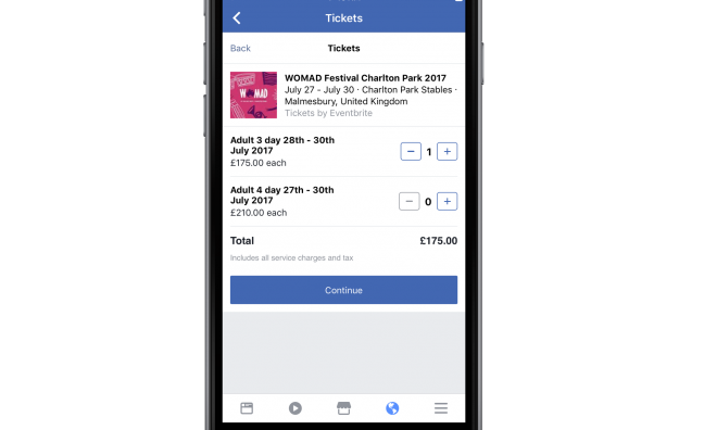 Facebook launches new ticket buying facility